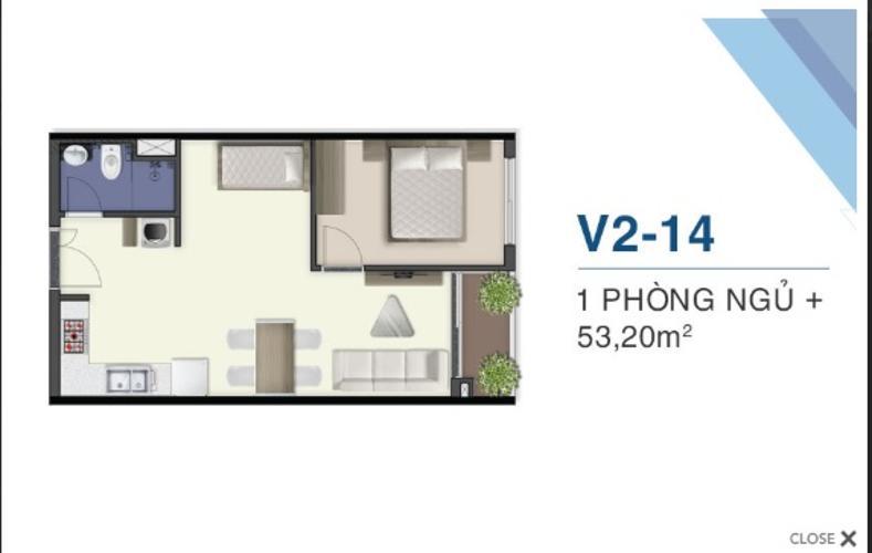 Mặt bằng căn hộ Q7 Saigon Riverside Bán căn hộ Q7 Saigon Riverside, tầng cao, diện tích 53m2 - 1 phòng ngủ, nội thất cơ bản.