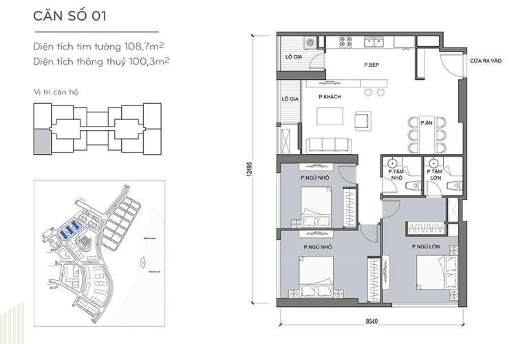 Căn hộ 3 phòng ngủ Căn góc Vinhomes Central Park 3 phòng ngủ tầng cao Landmark 4