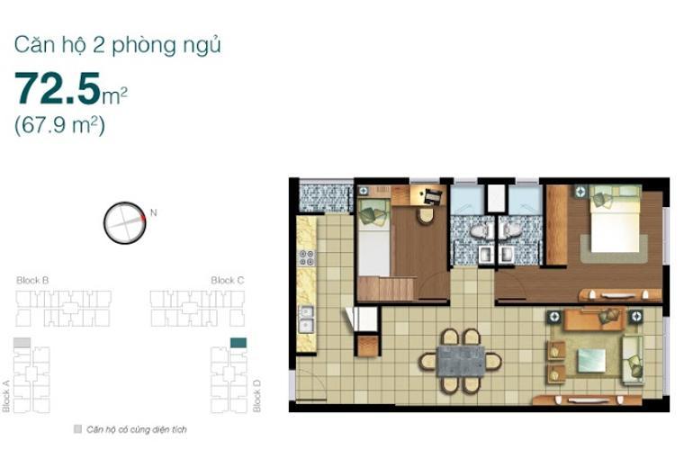 Mặt bằng căn hộ 2 phòng ngủ Căn hộ Lexington Residence 2 phòng ngủ tầng trung LD nội thất đầy đủ