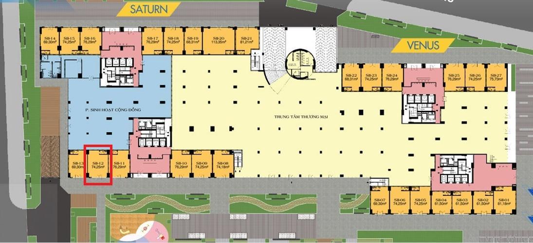 Layout  shop-house Q7 Saigon Riverside Shop-house Q7 Saigon Riverside hướng Nam, có thể kinh doanh trực tiếp.