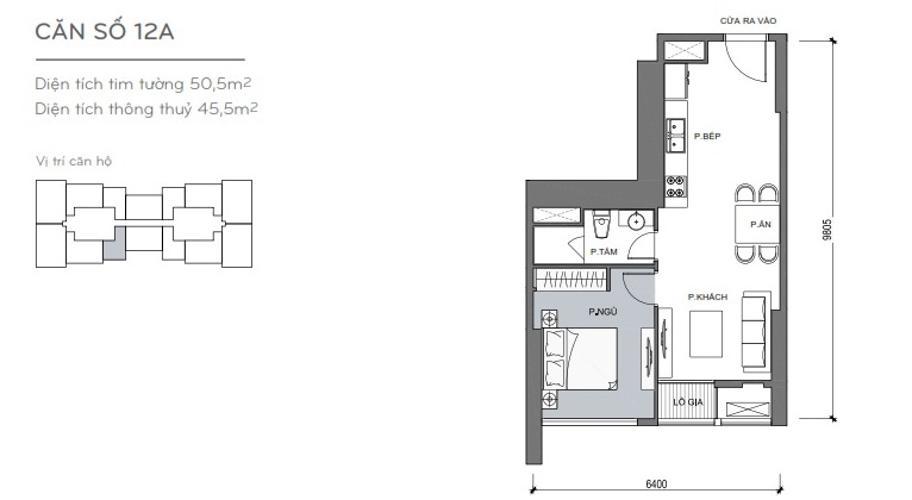 Mặt bằng căn hộ 1 phòng ngủ Officetel Vinhomes Central Park 1 phòng ngủ tầng trung L5 hướng Tây Nam