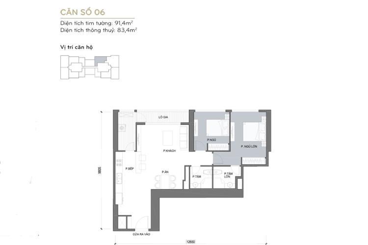 Căn hộ 2 phòng ngủ Căn hộ Vinhomes Central Park 2 phòng ngủ tầng cao Landmark 6