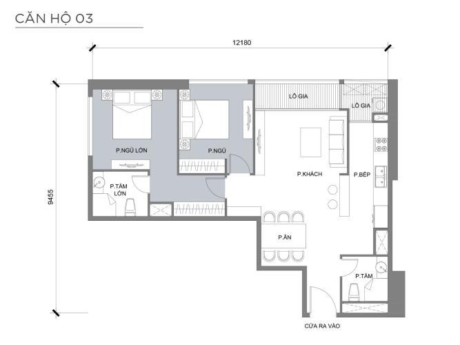 Mặt bằng căn hộ 2 phòng ngủ Căn hộ Vinhomes Central Park 2 phòng ngủ tầng trung P3 nhà mới