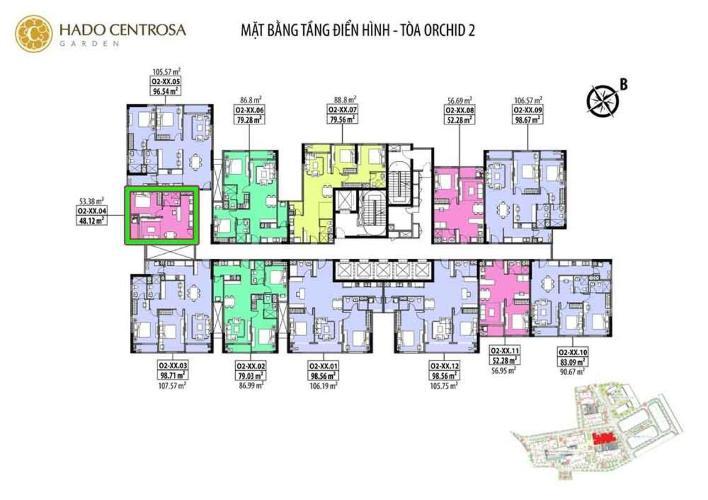 Bán căn hộ Hado Centrosa Garden 1 phòng ngủ, diện tích 53m2, mặt tiền đường Ba tháng Hai