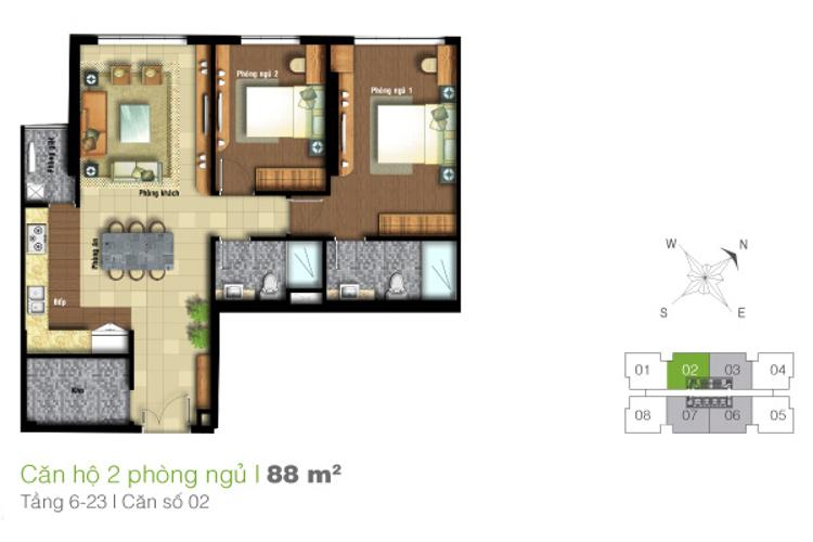 Mặt bằng căn hộ 2 phòng ngủ Căn hộ Tropic Garden tầng cao C1, đầy đủ nội thất, hiện đại, tiện nghi