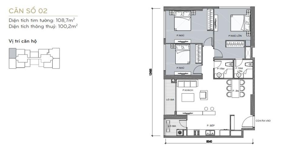 Mặt bằng căn hộ 2 phòng ngủ Căn góc Vinhomes Central Park 3 phòng ngủ tầng cao L6 hướng Tây Bắc