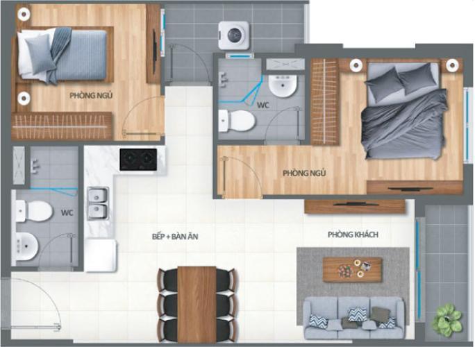 Căn hộ Lovera Vista tầng 15 nội thất cơ bản, 2 phòng ngủ.