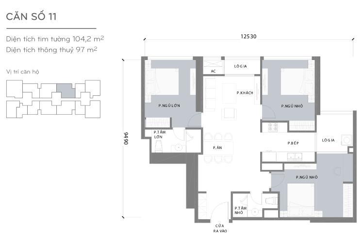 Mặt bằng căn hộ 3 phòng ngủ Căn hộ Vinhomes Central Park tầng cao Landmark 3 mới bàn giao, nội thất cơ bản