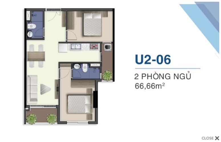 Căn hộ tầng 19 Q7 Saigon Riverside 2 phòng ngủ nội thất cơ bản