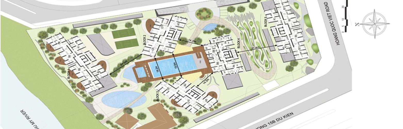 Mặt bằng dự án Căn hộ Phú Mỹ tầng thấp, đầy đủ nội thất.