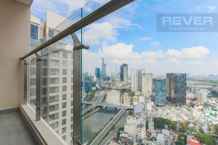 Balcony Căn hộ Masteri Millennium tầng cao, view sông, 2PN nội thấy đầy đủ