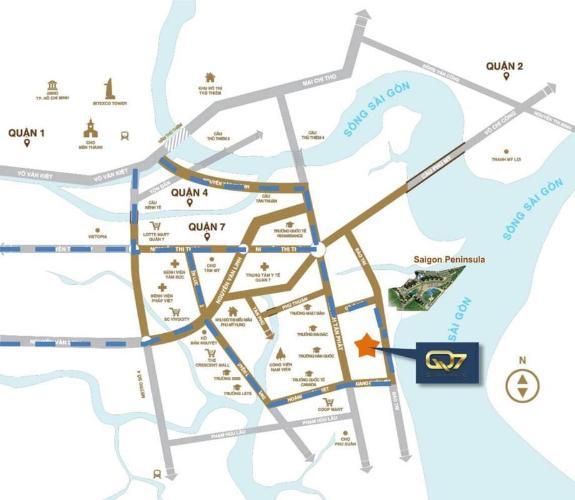 Vị trí dự án Q7 Saigon Riverside  Căn hộ Q7 Saigon Riverside tầng cao thoáng mát, nội thất cơ bản.
