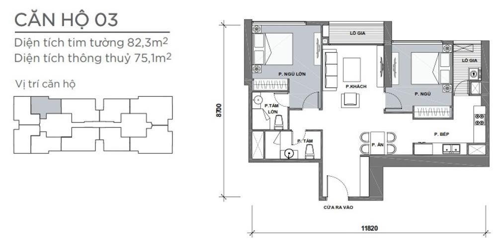 Mặt bằng căn hộ 2 phòng ngủ Căn hộ Vinhomes Central Park 2 phòng ngủ tầng trung P4 view công viên
