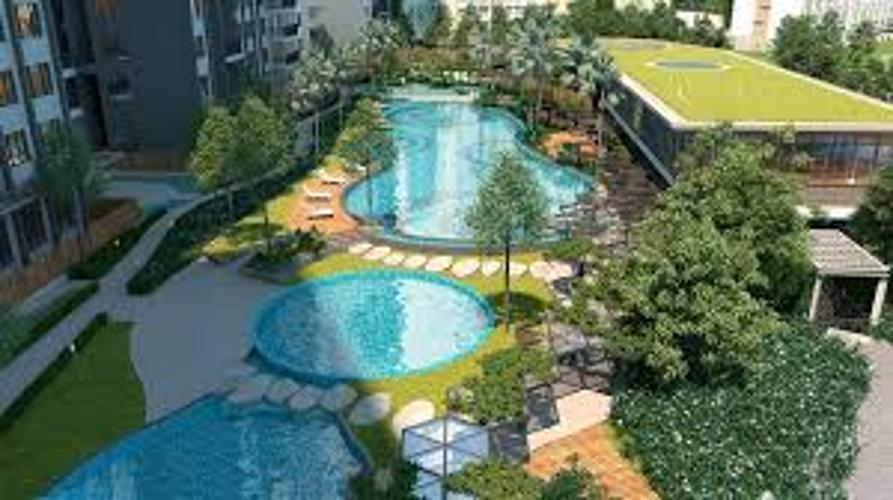 Hồ bơi D'Lusso Quận 2 Căn hộ D'Lusso tầng trung, 2 phòng ngủ, bàn giao nội thất cơ bản.
