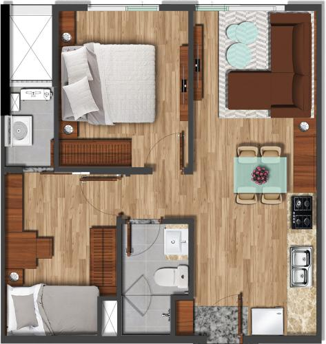 Căn hộ Akari City tầng trung, view căn hộ mát mẻ.