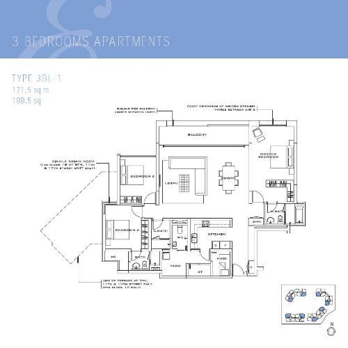 Mặt bằng căn hộ 3 phòng ngủ Căn hộ The Estella Residence 3 phòng ngủ, tầng cao T1, nội thất đầy đủ