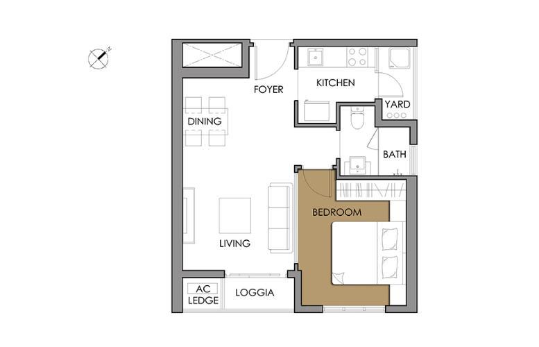 Căn hộ 1 phòng ngủ Căn hộ Vista Verde 1 phòng ngủ tầng cao T1 đầy đủ nội thất