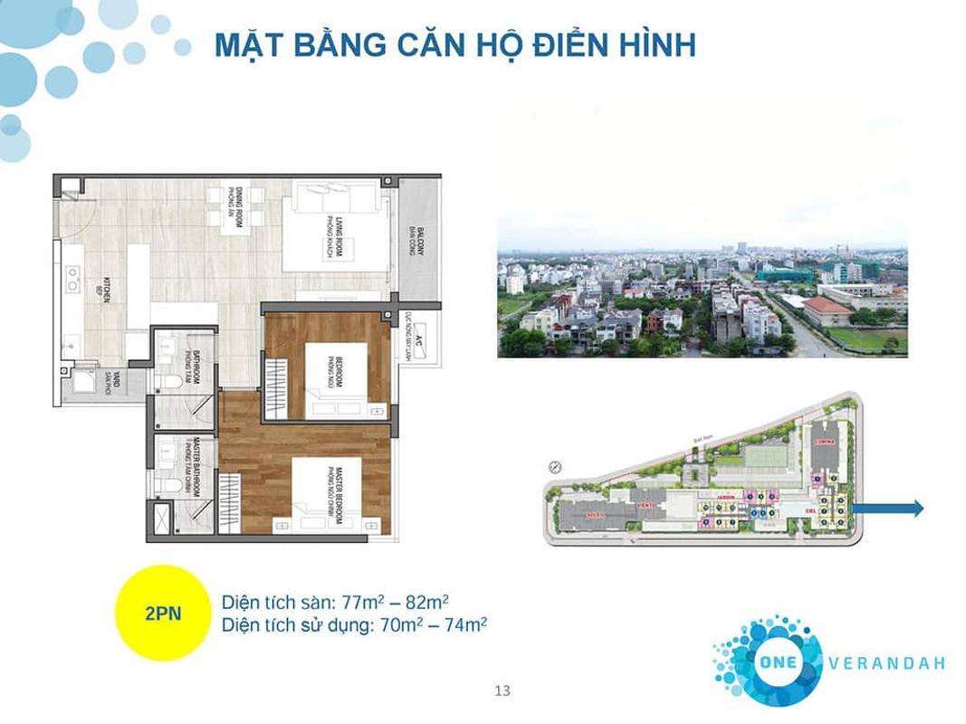 can-ho-ONE-VERANDAH  Bán căn hộ One Verandah 2PN, tầng 4, diện tích 81m2, nội thất cơ bản