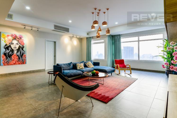 Phòng Khách Penthouse Saigon Pearl tháp Sapphire diện tích 221m2 full nội thất