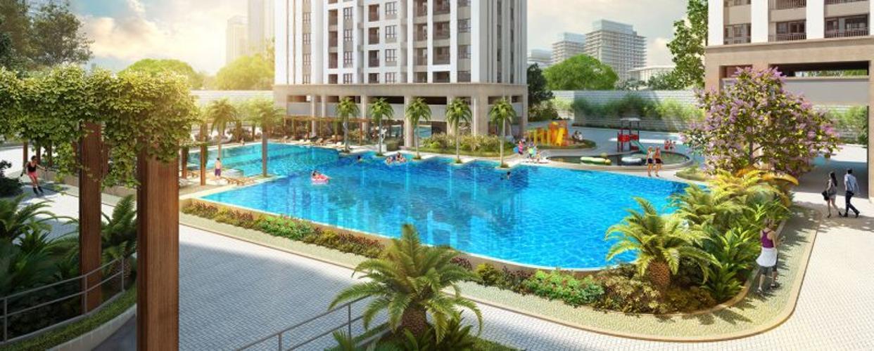 hồ bơi dự án Q7 Boulevard Bán căn hộ Q7 Boulevard, ban công hướng Bắc nhìn về khu Phú Mỹ Hưng.