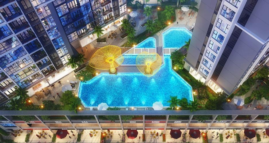 Nội khu hồ bơi Eco Green Saigon Căn hộ Eco Green Saigon 2 phòng ngủ thiết kế hiện đại đầy đủ nội thất