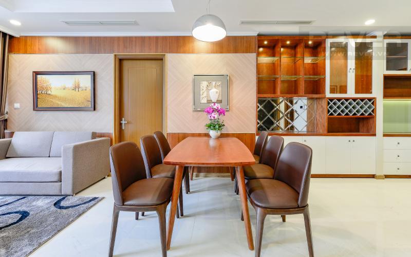 bàn ăn Căn hộ Vinhomes Central Park tầng cao Landmark 3 thiết kế đẹp, view sông