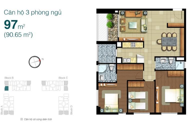 Mặt bằng căn hộ 3 phòng ngủ Căn góc Lexington Residence tầng cao LB đầy đủ nội thất, tiện nghi