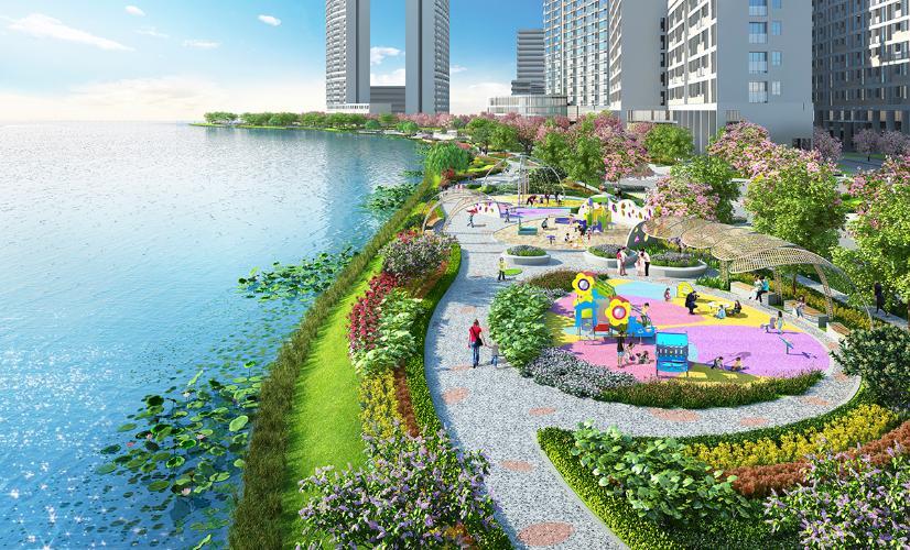 công viên căn hộ midtown Căn hộ Phú Mỹ Hưng Midtown nội thất cơ bản, view sông thoáng mát.