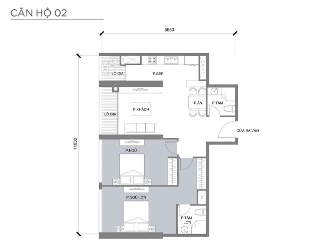 Mặt bằng căn hộ 2 phòng ngủ Căn hộ Vinhomes Central Park 2 phòng ngủ tầng trung P3 hướng Tây