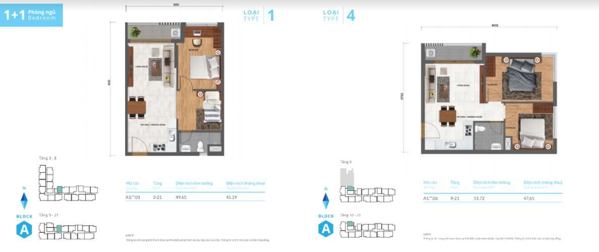 1+ block a loại 1 + 4 Bán căn hộ Safira Khang Điền 1PN+1, tầng 21, DT 43m2