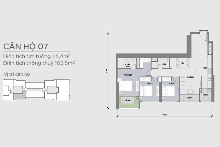 Căn hộ 3 phòng ngủ Căn hộ Vinhomes Central Park 3 phòng ngủ tầng cao Park 2 hướng Nam, full nội thất