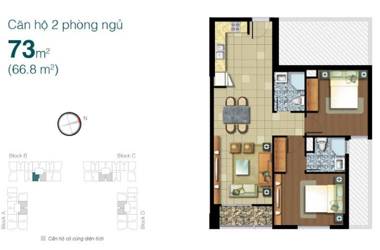 Mặt bằng căn hộ 2 phòng ngủ Căn hộ Lexington Residence 2 phòng ngủ tầng trung LB nội thất đầy đủ