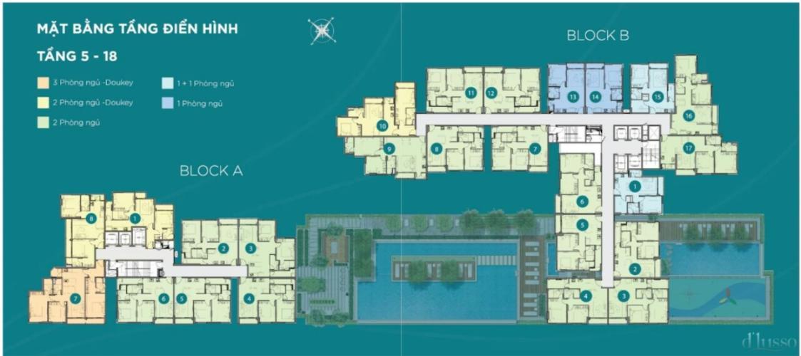 layout dự án D'Lusso quận 2 Căn hộ tầng trung D'Lusso phòng khách đón sáng thoáng mát.