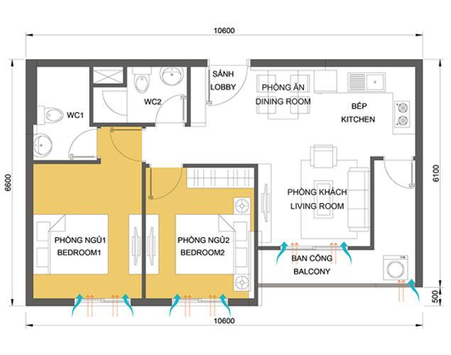 Mặt bằng căn hộ 2 phòng ngủ Căn hộ Masteri Thảo Điền tầng cao T1 view về sông và khu Thảo Điền