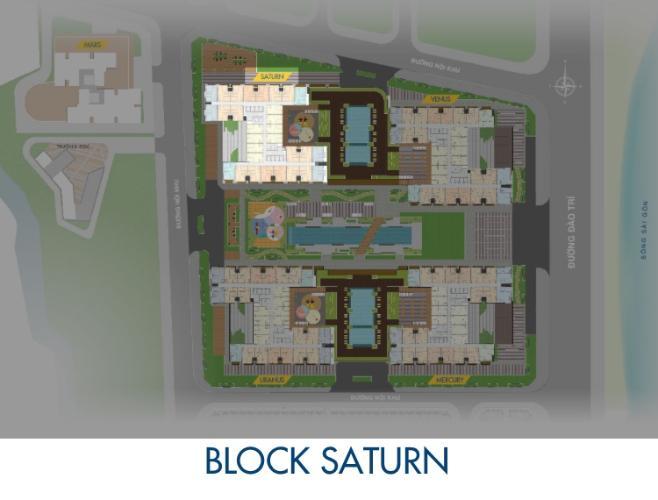 Block Saturn Q7 Sài Gòn Riverside Căn hộ Q7 Saigon Riverside 2 phòng ngủ, view đường Đào Trí.