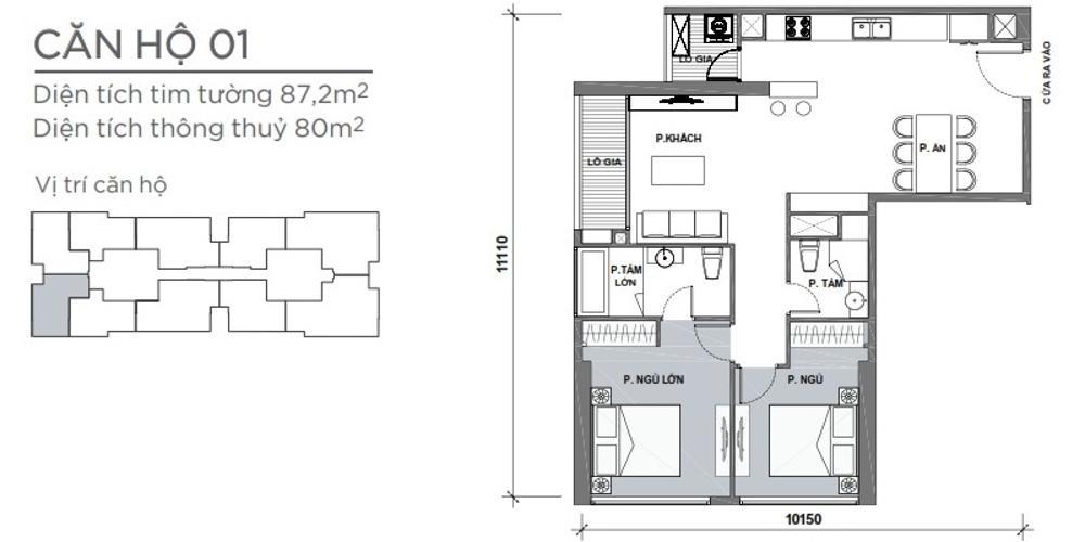 Mặt bằng căn hộ 2 phòng ngủ Căn hộ Vinhomes Central Park 2 phòng ngủ tầng cao P4 hướng Tây Nam