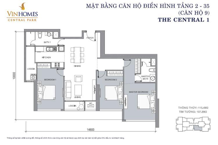 Căn hộ 3 phòng ngủ Căn hộ Vinhomes Central Park 3 phòng ngủ tầng thấp Central 1