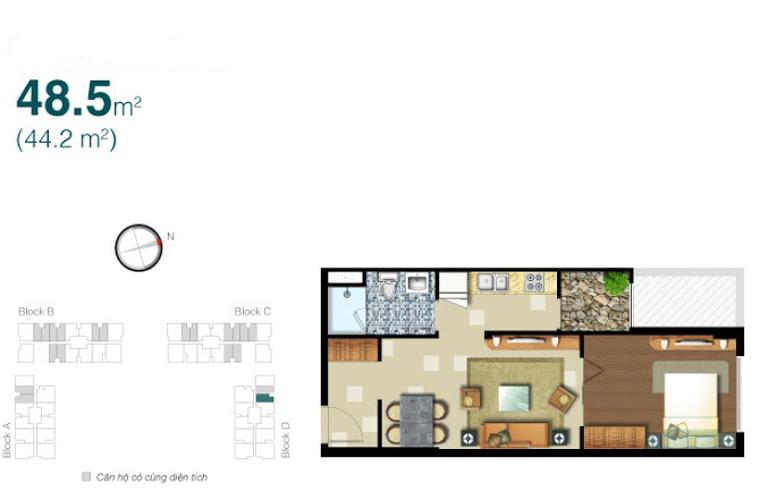 Mặt bằng căn hộ 1 phòng ngủ Căn hộ Lexington Residence 1 phòng ngủ tầng trung LD đầy đủ tiện nghi