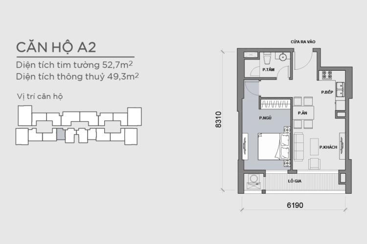 Mặt bằng căn hộ 1 phòng ngủ Căn hộ Vinhomes Central Park 1 phòng ngủ tầng cao P6 hướng Nam