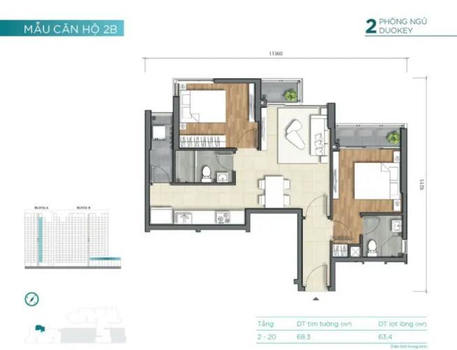 mặt bằng thiết kế căn số 01 tháp A dự án D'Lusso Căn hộ D'Lusso nội thất cơ bản, view sông thoáng mát.