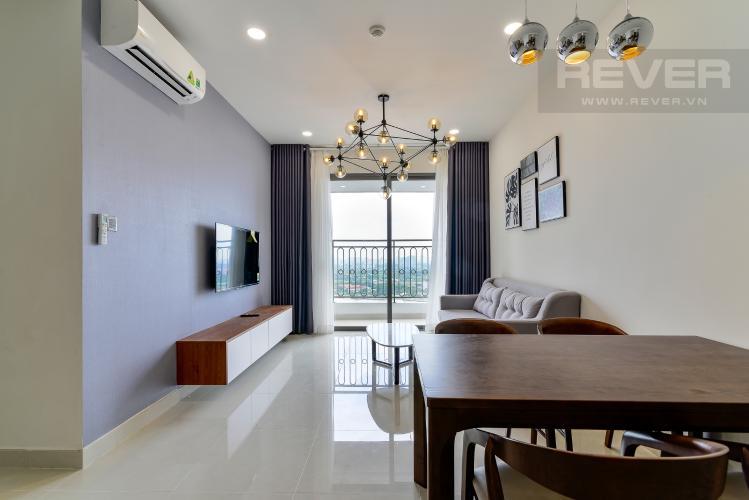 Phòng Khách Cho thuê căn hộ Saigon Royal 2PN, tầng cao, tháp A, đầy đủ nội thất, view sông Sài Gòn và tháp Bitexco