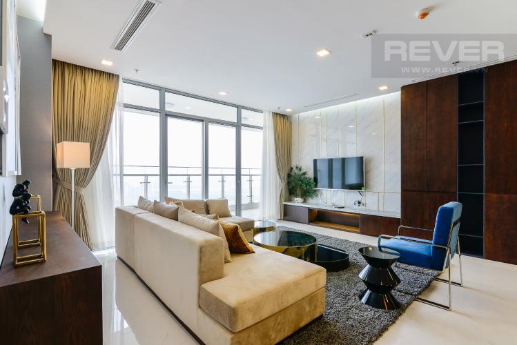 Phòng Khách Căn góc Vinhomes Central Park 4 phòng ngủ tầng cao P2 full nội thất