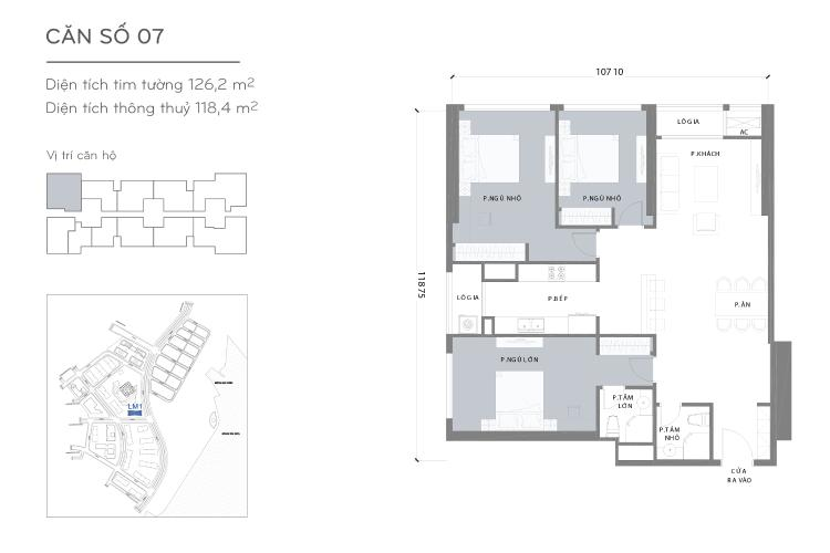 Mặt bằng căn hộ 3 phòng ngủ Căn hộ Vinhomes Central Park tầng cao L1, 3 phòng ngủ nội thất cơ bản