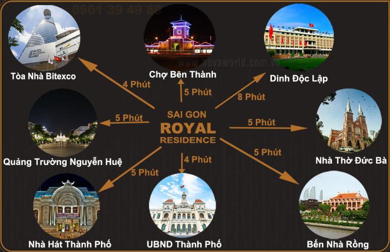 Vị trí căn hộ SaiGon Royal , quận 4 Căn hộ Saigon Royal cửa hướng Tây Bắc, bàn giao đầy đủ nội thất hiện đại