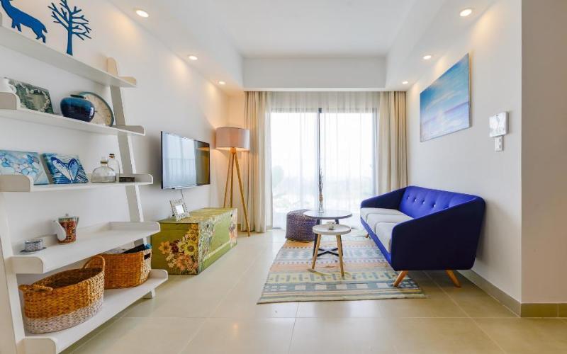 Phòng khách Căn hộ Masteri Thảo Điền tầng cao tháp T4A view sông thoáng mát