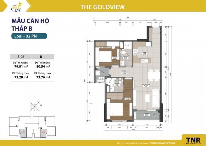 Căn hộ 2 phòng ngủ Căn hộ The Gold View 2 phòng ngủ tầng thấp tháp B đầy đủ nội thất