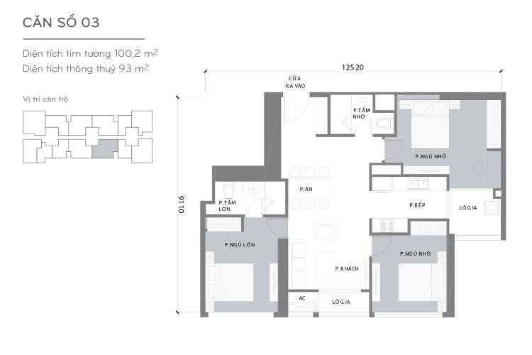 Căn hộ 3 phòng ngủ Căn hộ Vinhomes Central Park 3 phòng ngủ tầng cao L2 đầy đủ nội thất