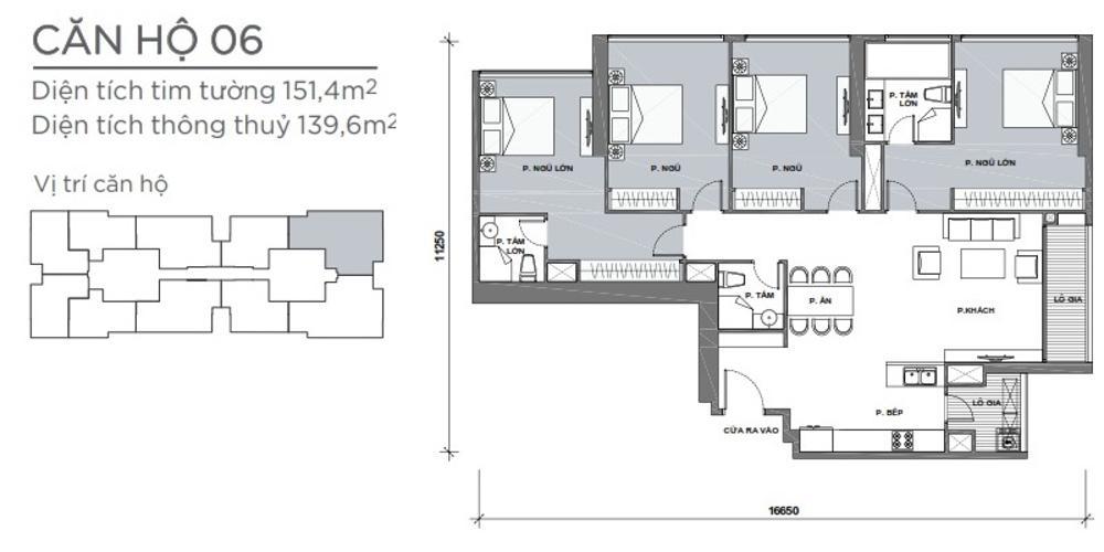 Mặt bằng căn hộ 4 phòng ngủ Căn hộ Vinhomes Central Park 4 phòng ngủ tầng cao P4 view sông