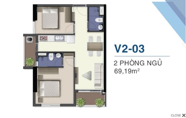 layout căn hộ Q7 Saigon Riverside Bán căn hộ tầng cao Q7 Saigon Riverside nội thất cơ bản, 2 phòng ngủ.