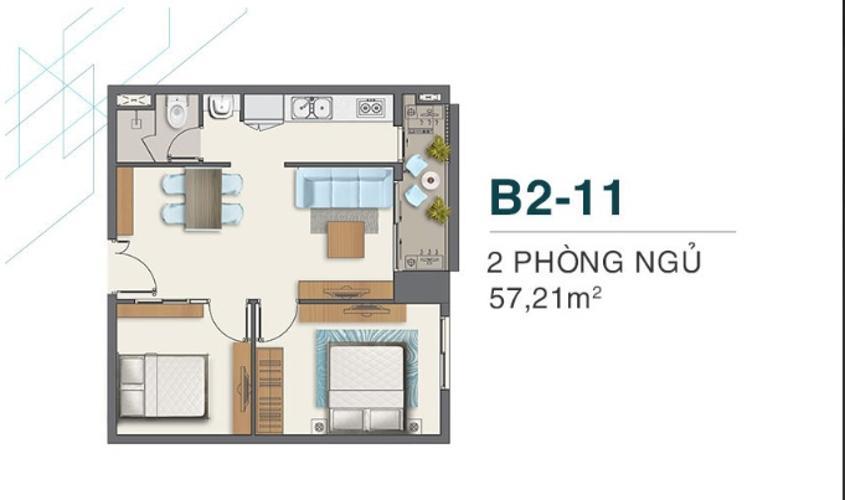 Bán căn hộ Q7 Boulevard diện tích 57,21m2, 2 phòng ngủ và 1 toilet, ban công hướng Đông.